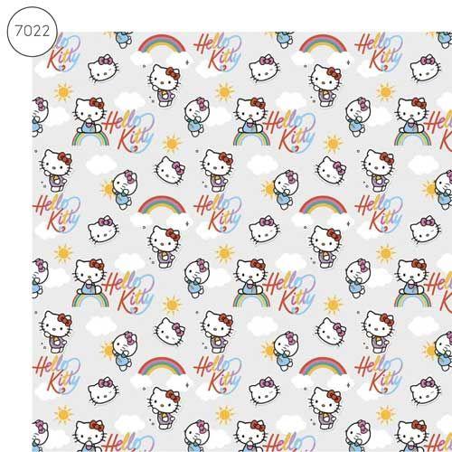 Hello Kitty Fabric - Wide Cotton Poplin - Grey - 150cm wide - Half Metre
