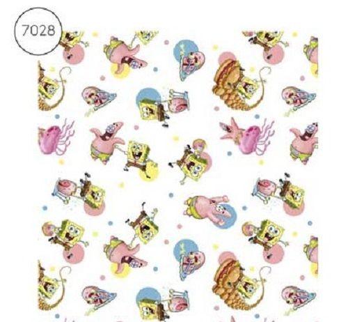 Spongebob Square Pants Fabric - Wide Cotton Poplin - White - 150cm wide - H