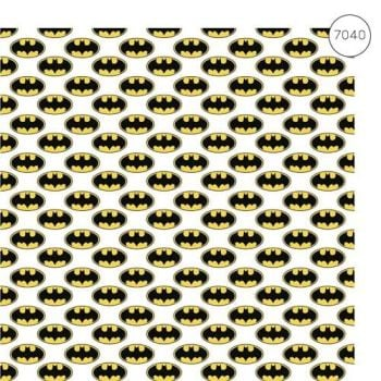 Batman Fabric - Wide Organic Cotton Poplin - Logo - White - 150cm wide - Half Metre