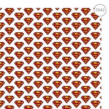 Superman Fabric - Wide Organic Cotton Poplin - Logo - White - 150cm wide - Half Metre