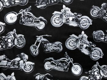 Timeless Treasures Fabric - Road Warrior Motorcycles - 100% Cotton - 1/4m+