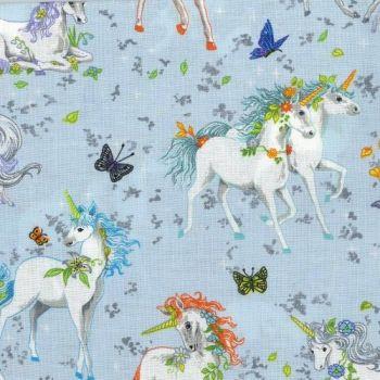 Nutex Fabric - Pretty Please - Unicorns - Blue - 100% Cotton - 1/4m+