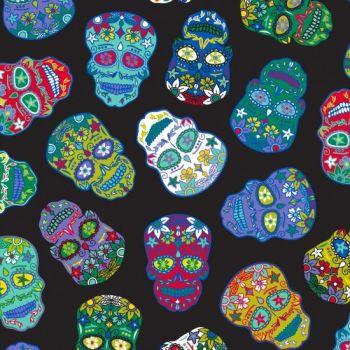 Nutex Fabric - Sugar Skulls - Black - 100% Cotton - 1/4m+