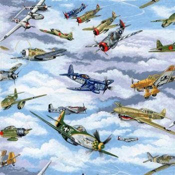 Nutex Fabric - Warbirds - Planes - Blue - 100% Cotton - 1/4m+