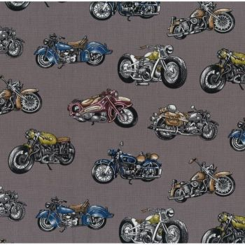 Nutex Fabric - Classic Ride - Motorcycles - Grey - 100% Cotton - 1/4m+