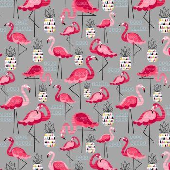 Nutex Fabric - Flamingo - Grey Pink - 100% Cotton - 1/4m+