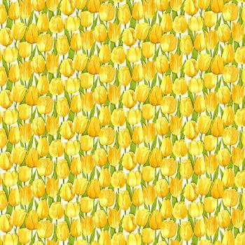 Makower Fabric - Summer Garden - Tulips - Yellow - 100% Cotton - 1/4m+