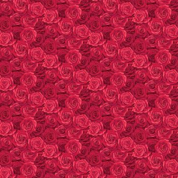 Makower Fabric - Summer Garden - Packed Roses - Red - 100% Cotton - 1/4m+
