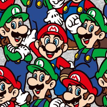 Nintendo Fabric - Super Mario Bros - Mario Luigi Packed - 100% Cotton  - 1/4m+