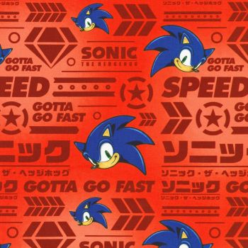 Sonic The Hedgehog Fabric - Sega - Red - 100% Cotton - 1/4m+