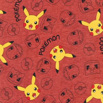 Pokemon Fabric - Pikachu and Friends - Red - 100% Cotton - 1/4m+