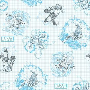 Marvel Avengers Fabric - Avengers Grid Paper Sketch - Blue - 100% Cotton - 1/4m+