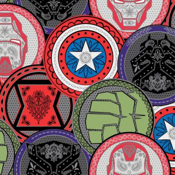 Marvel Avengers Fabric - Marvel Coins - 100% Cotton - 1/4m+