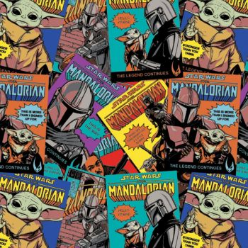 Star Wars Fabric - Mandalorian Comic Posters - 100% Cotton - 1/4m+
