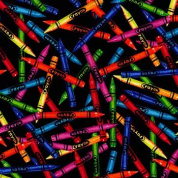 Timeless Treasures Fabric - Crayons - Black - 100% Cotton - 1/4m+
