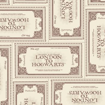 Harry Potter Fabric - Ticket to Hogwarts - Cream - 100% Cotton - 1/4m+