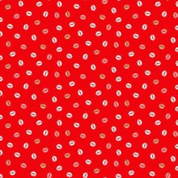 Makower Fabric - Pamper - Lips - Red - 100% Cotton - 1/4m+