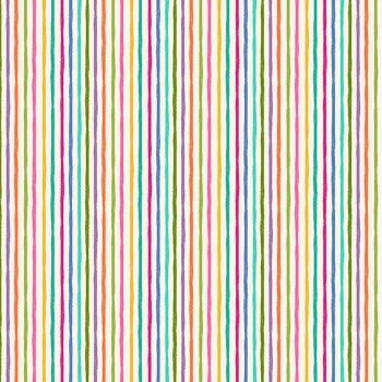 Makower Fabric - Katie's Cats - Chalky Stripe - Cream - 100% Cotton - 1/4m+