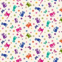 Makower Fabric - Katie's Cats - Scattered - Cream - 100% Cotton - 1/4m+