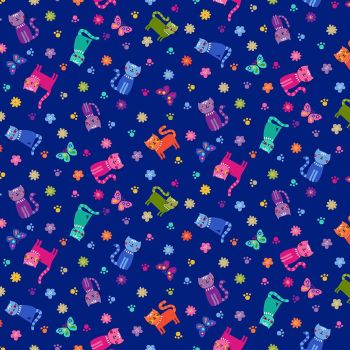 Makower Fabric - Katie's Cats - Scattered - Blue - 100% Cotton - 1/4m+