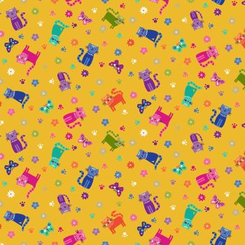Makower Fabric - Katie's Cats - Scattered - Yellow - 100% Cotton - 1/4m+
