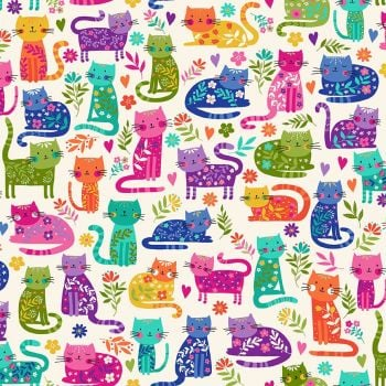 Makower Fabric - Katie's Cats - Allover - Cream - 100% Cotton - 1/4m+