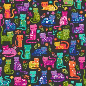 Makower Fabric - Katie's Cats - Allover - Grey - 100% Cotton - 1/4m+