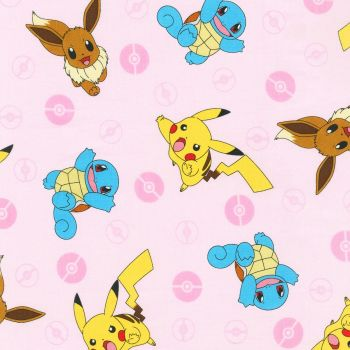 Pokemon Fabric - Pikachu and Friends - Pink - 100% Cotton - 1/4m+