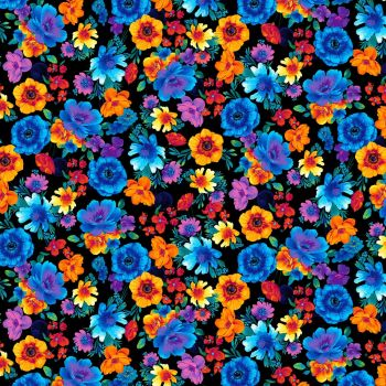 Timeless Treasures Fabric - Glow - Black Floral - 100% Cotton - 1/4m+