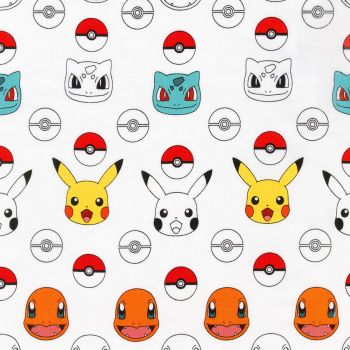 Pokemon Fabric - Pikachu and Friends - White - 100% Cotton - 1/4m+