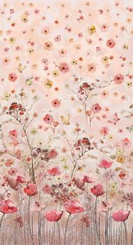 Timeless Treasures Fabric - Floral Study Pink Digital Panel - 100% Cotton