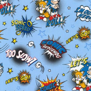 Sonic The Hedgehog Fabric - Sega - Blue Quotes - 100% Cotton - 1/4m+