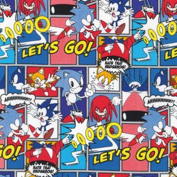 Sonic The Hedgehog Fabric - Sega - Comic Multi - 100% Cotton - 1/4m+