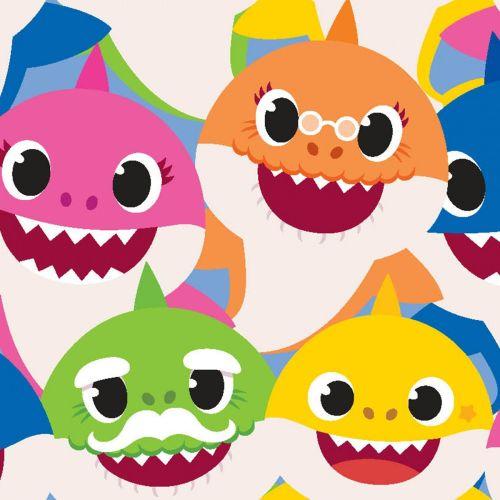 Baby Shark Fabric Doo Doo Doo - Family Packed - 100% Cotton - 1/4m+