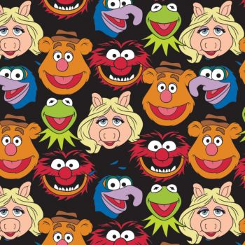 Disney Fabric - The Muppets Cast Black - 100% Cotton - 1/4m+
