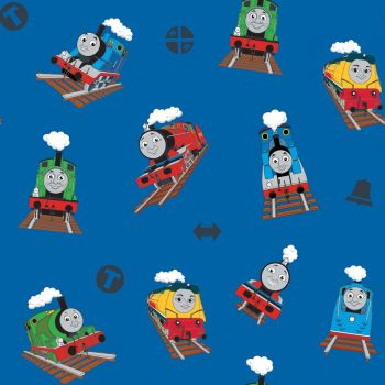 Thomas and Friends Fabric - All Aboard Main - Blue - 100% Cotton - 1/4m+