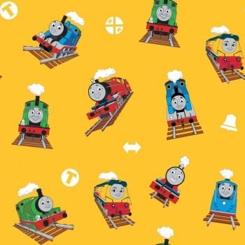 Thomas and Friends Fabric - All Aboard Main - Yellow - 100% Cotton - 1/4m+