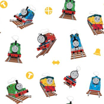 Thomas and Friends Fabric - All Aboard Main - White - 100% Cotton - 1/4m+