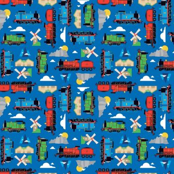 Thomas and Friends Fabric - All Aboard Sodor - Blue - 100% Cotton - 1/4m+