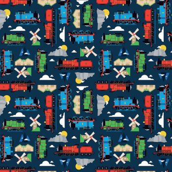 Thomas and Friends Fabric - All Aboard Sodor - Navy - 100% Cotton - 1/4m+