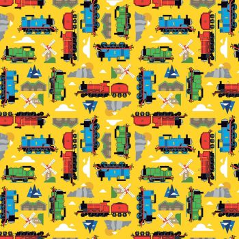 Thomas and Friends Fabric - All Aboard Sodor - Yellow - 100% Cotton - 1/4m+