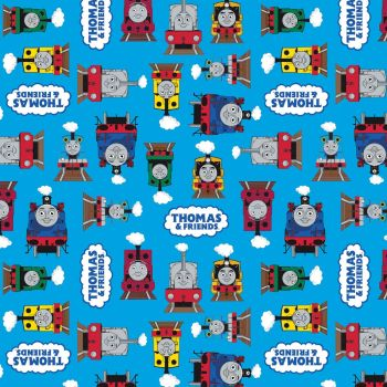 Thomas and Friends Fabric - All Aboard Logo - Blue - 100% Cotton - 1/4m+