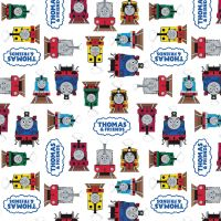 Thomas and Friends Fabric - All Aboard Logo - White - 100% Cotton - 1/4m+