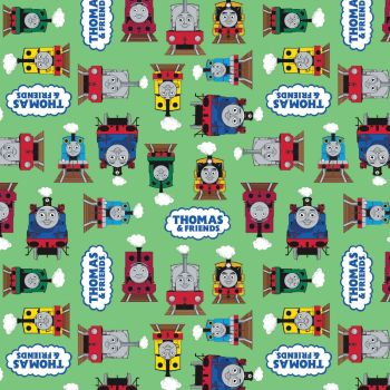 Thomas and Friends Fabric - All Aboard Logo - Green - 100% Cotton - 1/4m+