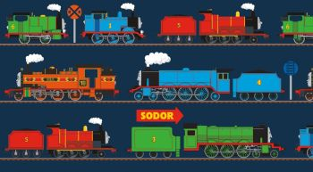 Thomas and Friends Fabric - All Aboard Train Line Panel Navy - 100% Cotton