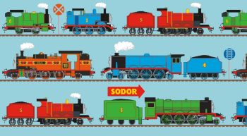 Thomas and Friends Fabric - All Aboard Train Line Panel Blue - 100% Cotton