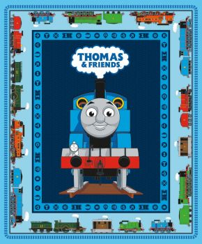 "Thomas and Friends Fabric - All Aboard Panel 36"" - 100% Cotton"