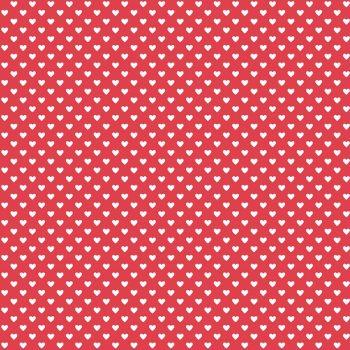 Andover Fabric - Hearts - Red White - 100% Cotton - 1/4m+