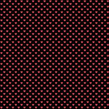 Andover Fabric - Hearts - Black Red - 100% Cotton - 1/4m+