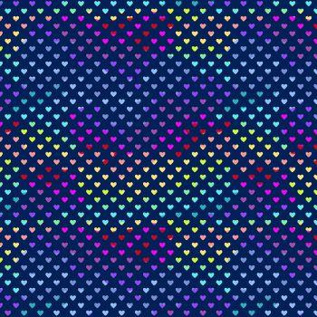 Andover Fabric - Hearts - Navy Rainbow - 100% Cotton - 1/4m+